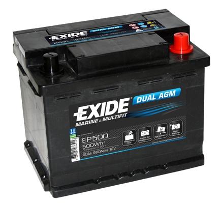 EXIDE DUAL AGM Exide Dual AGM 12V 60Ah 500A EP500