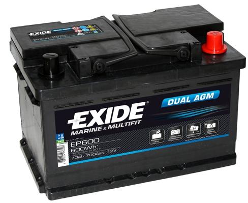 EXIDE DUAL AGM Exide Dual AGM 12V 70Ah 600A EP600