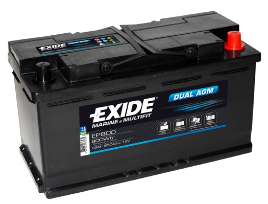 EXIDE DUAL AGM  EXIDE DUAL AGM 12V 92AH 850A, EP800