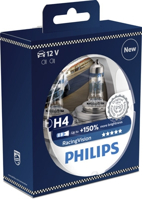Philips 12V H4 60/55W P43T RacingVision - set 2ks +150%