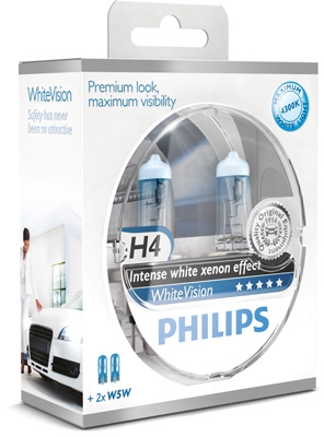 Philips 12V H4 60/55W P43T+W5W WhiteVision ultra Box