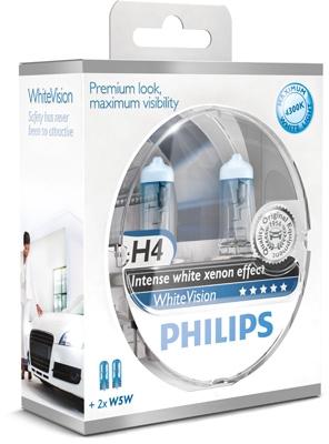 Philips 12V H4 60/55W P43T+W5W WhiteVision ultra Box