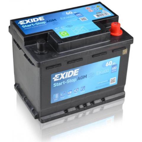 Autobatéria Exide START STOP AGM 60Ah 12V 680A EK600