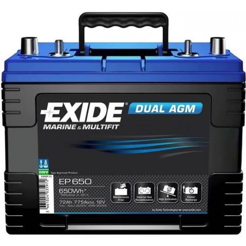 EXIDE DUAL AGM 12V 75Ah 650Wh, EP650